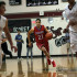 Junior Kobe Thompson dribbling down the court against Rouse. Thompson finished with 15 total points in the game.