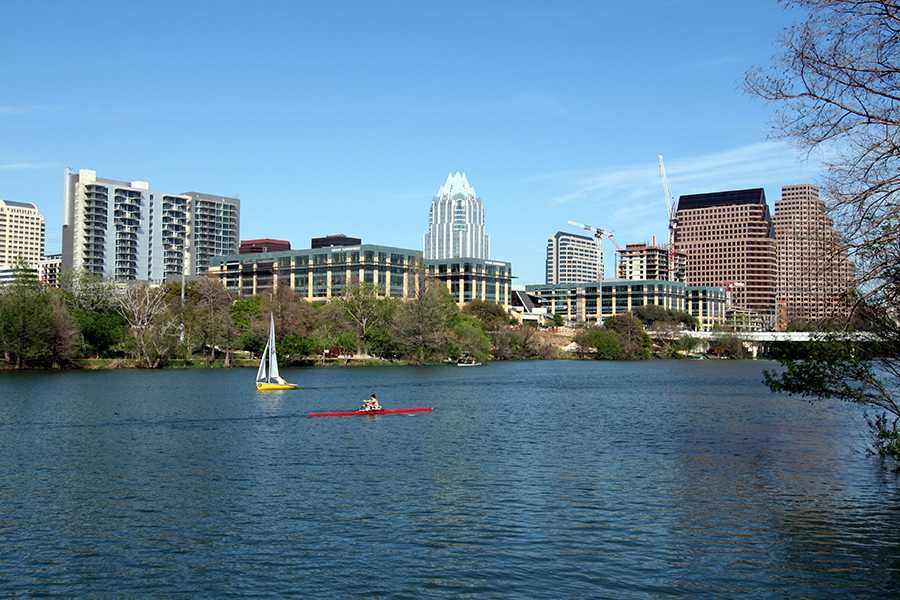 This is the view from the Lady Bird Lake trail. The trail circles the most of the lake and goes right past downtown.