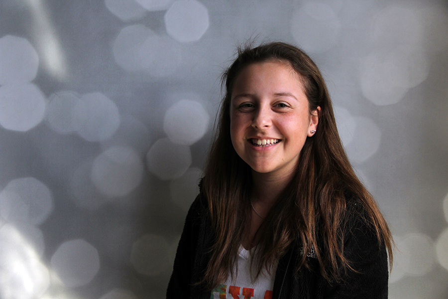 Freshman Emily Castillo participates in theatre and plays tennis.  She was diagnosed with Leukemia when she was three years old, but is healthy and happy now.