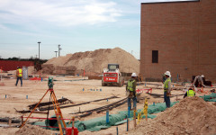 Construction workers make progress on the new science building