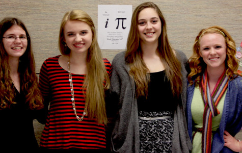 Mu Alpha Theta 2014 officers, from left to right: Vice President Kimberly Orr, Co-Presidents Claire Kyllonen and Sydney Platt, and Secretary Molly Aldred.