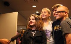 Junior Chloe Berlinger, Seniors Kindra Ferguson and Gavin Barron, and Junior Zane Hudson being interviewed by KXAN