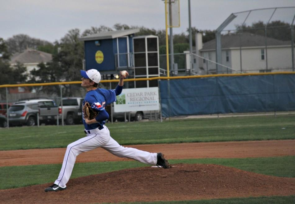 Senior Nate Imig pitches against Vista Ridge.