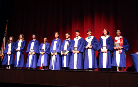 The Class of 2014's top ten students stand in order from right to left.