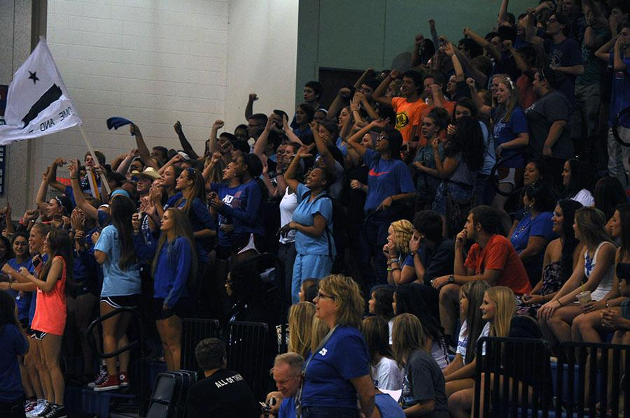 The senior class of 2015 show school spirit at the first pep rally
