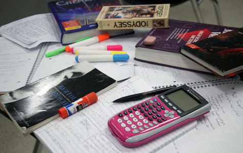 Students collect their homework in order to study for exams