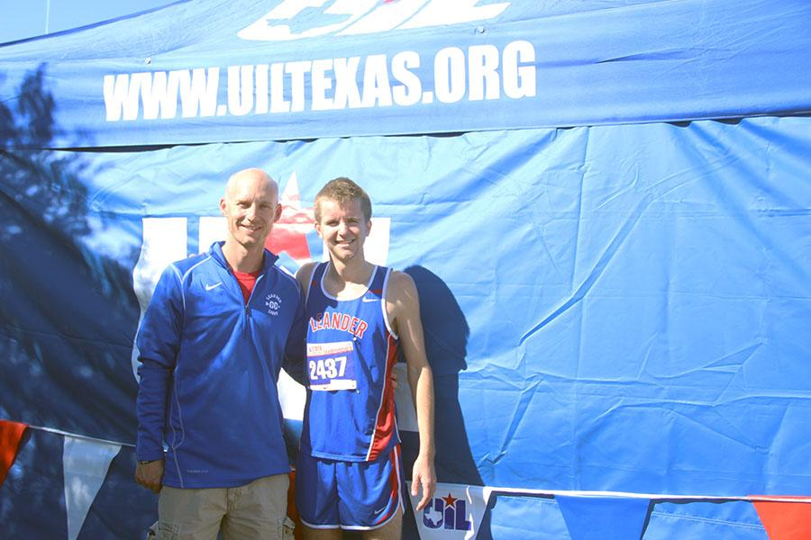 Senior Kyle LaRoche and Coach Kevin Lawson at the State Tournament