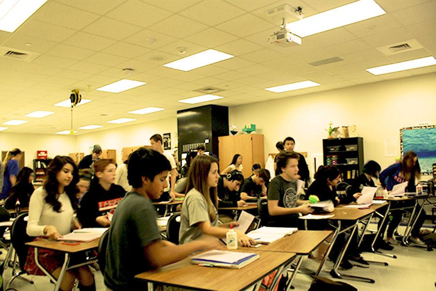 Students in an overcrowded class