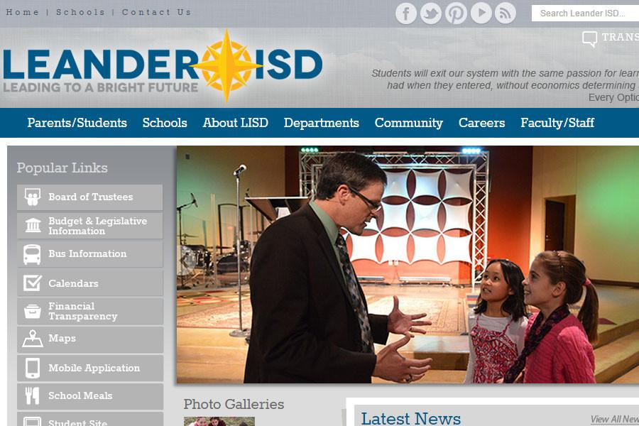 A screen cap from the Leander ISD Website