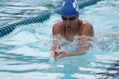Sophomore Tanja Milanovic swimming during a past swim meet against Vista Ridge.