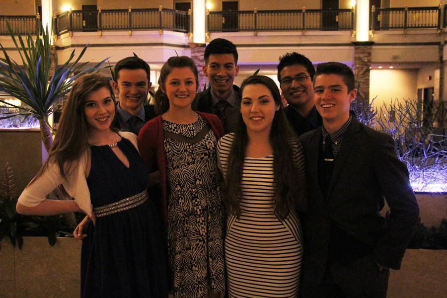 The Premier Delegation attended an awards ceremony at the close of the State Conference. Back Row: (l-r) Jack Densmore, Juan Miguel Perez, Alejandro Norato; Front Row: (l-r) Caroline Cravens, Shilo Criswell, Becca Brown, Jared Bouloy