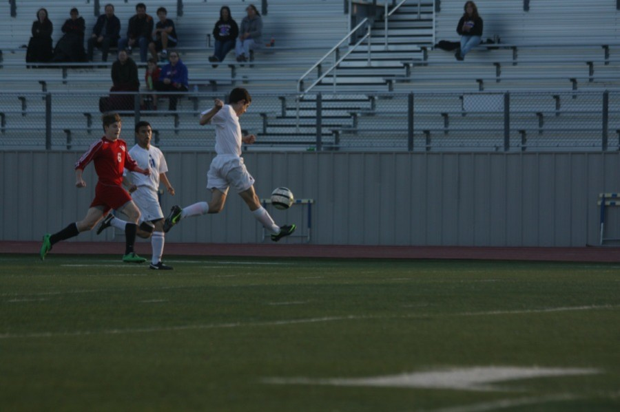 JV soccer player in action