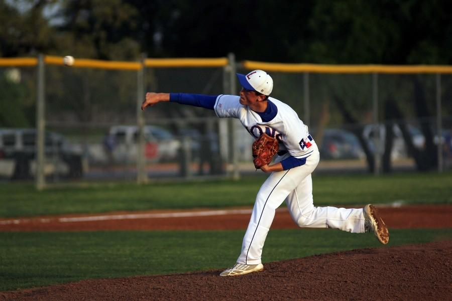 McCall pitching at the beginning of the game.