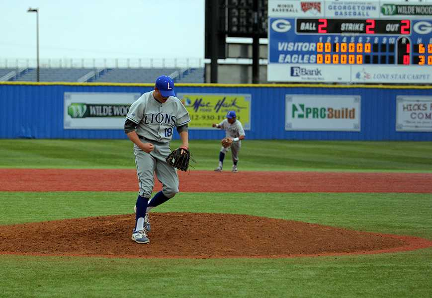 Senior Brady Ewing leaves the mound after pitching a shutout in the first district game.