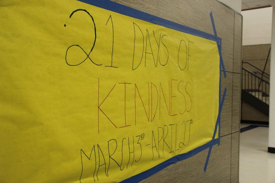 Student made banner for the 21 Days of Kindness