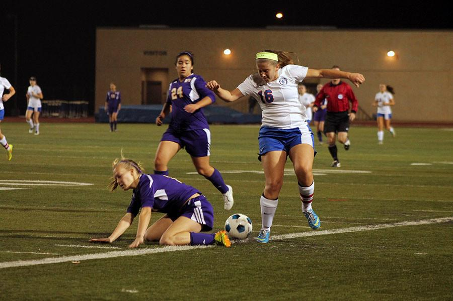 Senior holding mid Xhesika Ceka steals the ball from a Marble Falls defender