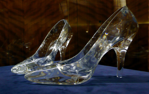 Glass slippers in the Cinderella Story.
