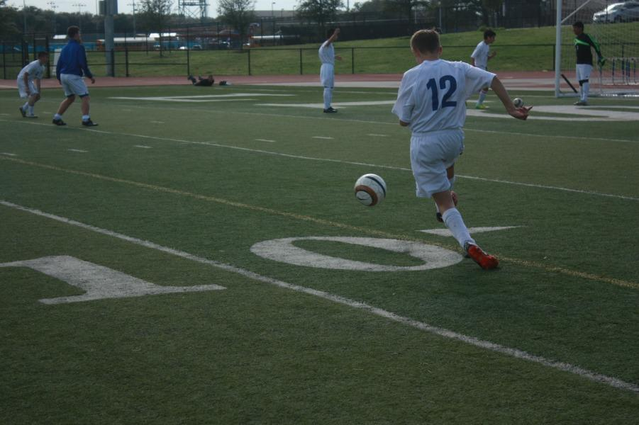 JV player Andrew Zenk practicing before the game