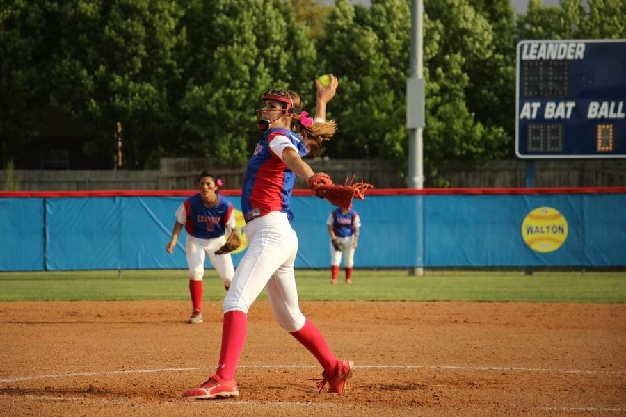 Senior Hannah Holt in the middle of a pitch.