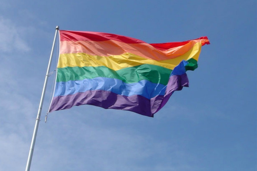 Flag supporting gay rights blowing in the wind