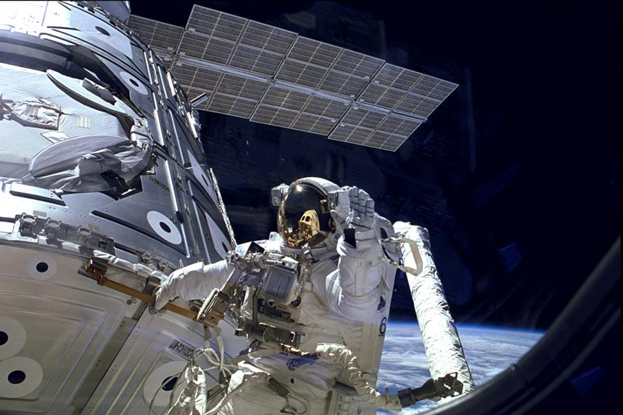 Astronauts Terry Virts and Barry Wilmore were reconfiguring the ports of the International Space Station when the GoPro footage was recorded.