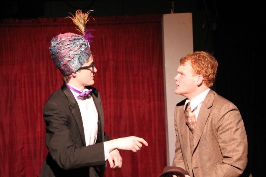 Sophomore Matthew Kennedy acting with senior Zane Hudson
