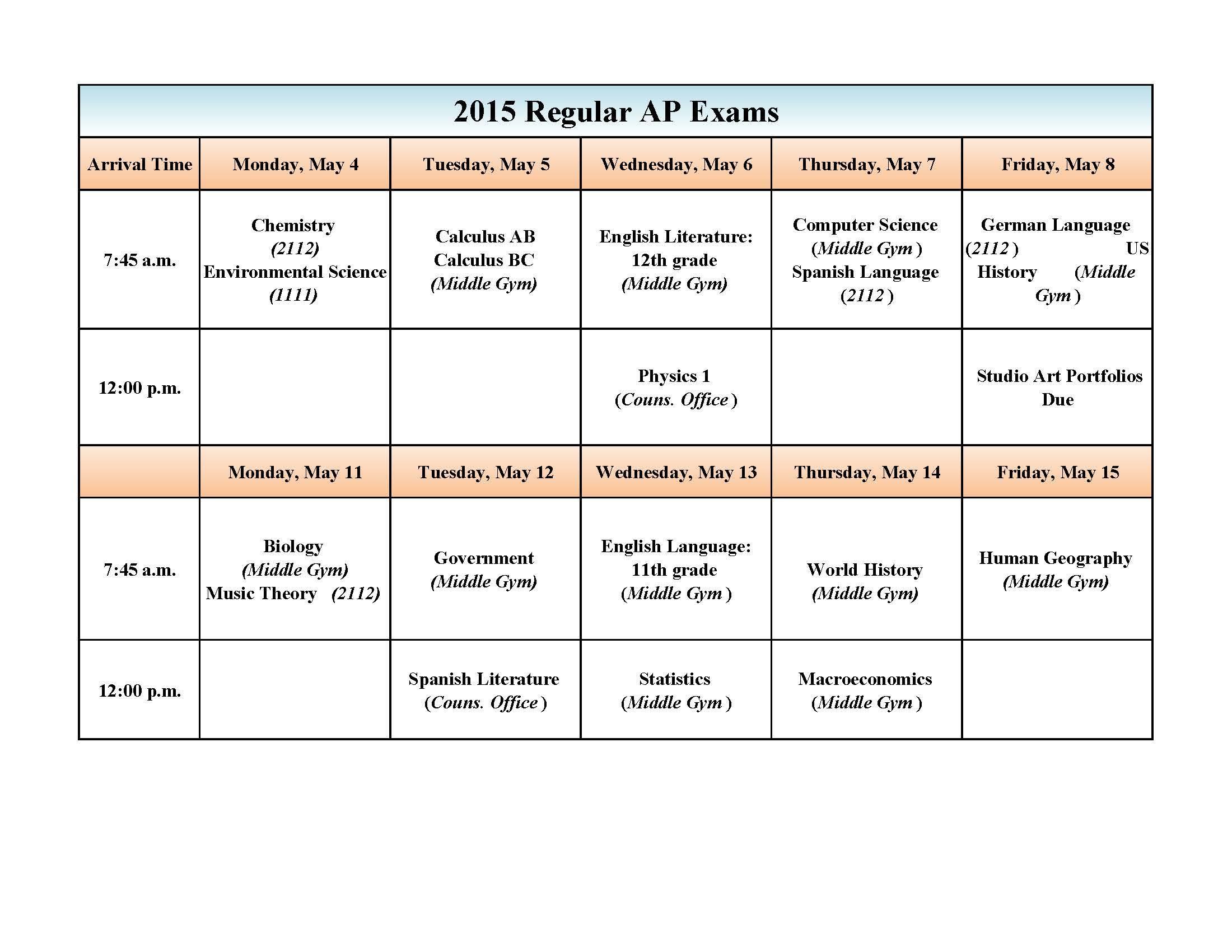 AP schedule