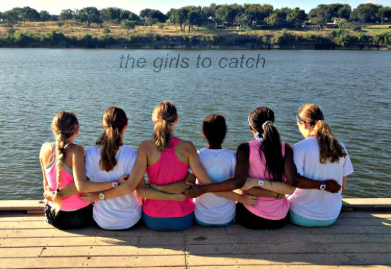 The two girl cross country teams sitting and bonding after the relay at the lake.  Their next meet will be in Burnet, Texas.