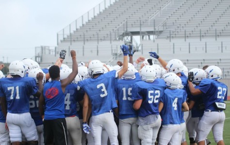 The team breaking huddle after a victory against Stony Point. Their next game will be away at Killeen.