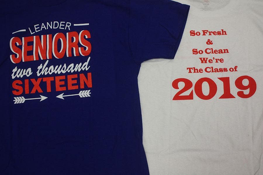 "The Senior and Freshmen shirts. These shirts are available during all B Day lunches in the ""Pride."""