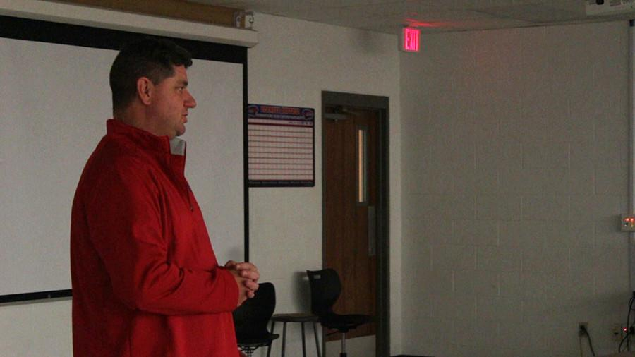 Head coach Tim Smith answering questions from parents. This was his first time doing Monday Night Football preview.