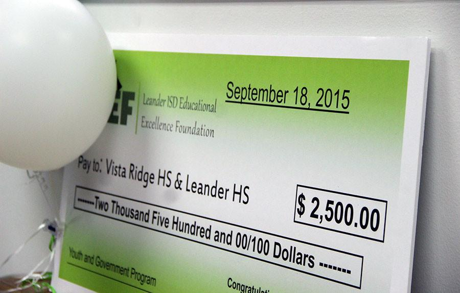 The check that publications adviser Danielle Bell received. Many other teachers also received the grant.