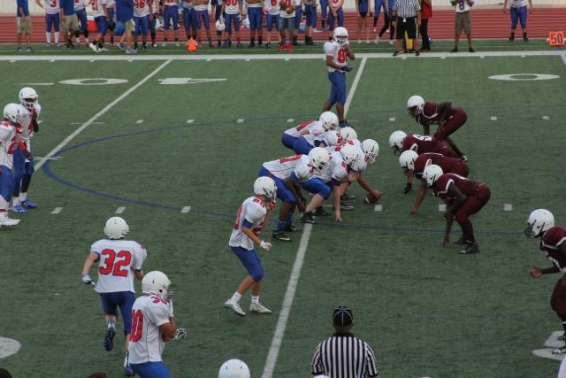 Freshman blue team lines up against Killeen Kangaroos on August 27th in Leo Buckley Stadium. The blue team would later lose the game to Killeen.