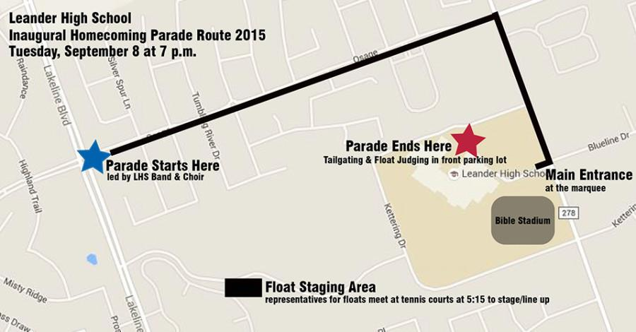 Map of the homecoming parade route. Additional information is added on about what will happen and where.