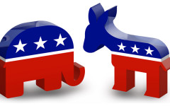 The Republican mascot, the elephant, and the Democrat mascot, the donkey. These are the two major political parties in the United States.