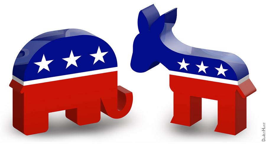 The+Republican+mascot%2C+the+elephant%2C+and+the+Democrat+mascot%2C+the+donkey.+These+are+the+two+major+political+parties+in+the+United+States.+