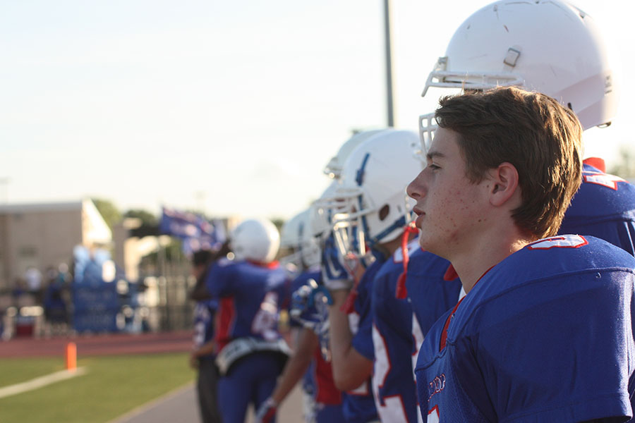 The Lions prepare for their game and take a look onto the field beforehand. The Marble Falls game was the first and possibly last time the freshmen will play together in a game as a whole.