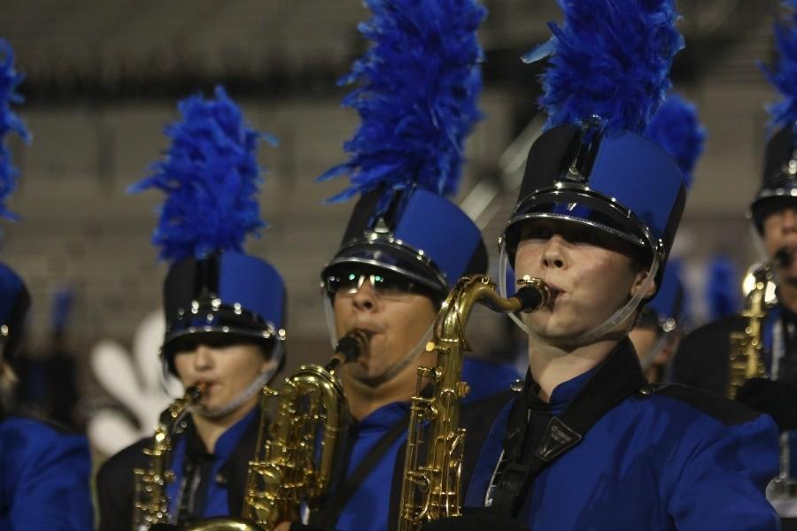 Saxophones preforming the bands show, Choral Works. They would nab first place during finals