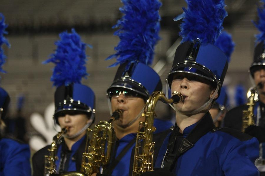 Saxophones preforming the band's show, Choral Works. They would nab first place during finals