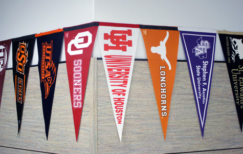 These are some of the colleges attending the College Fair. These pennants are outside Mrs. Woods office across from the counseling office.