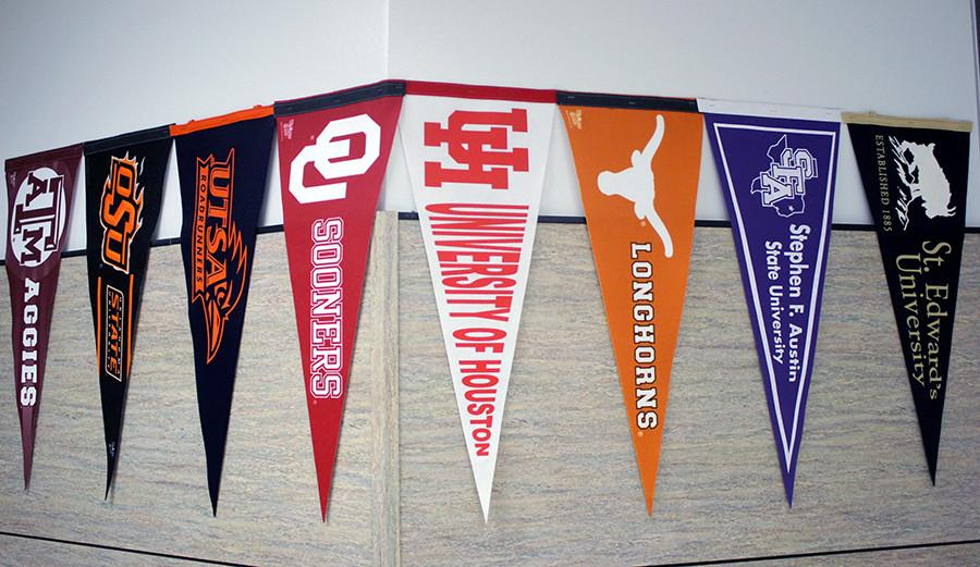 These+are+some+of+the+colleges+attending+the+College+Fair.+These+pennants+are+outside+Mrs.+Woods+office+across+from+the+counseling+office.
