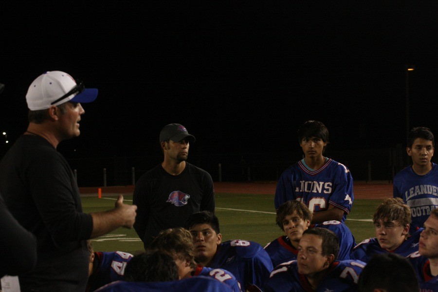 The freshmen coaches speak to the players about what they could improve upon in upcoming games. With a district score of 0-5, the freshmen lions plan to take the bye week as an opportunity for improvement in smaller details.
