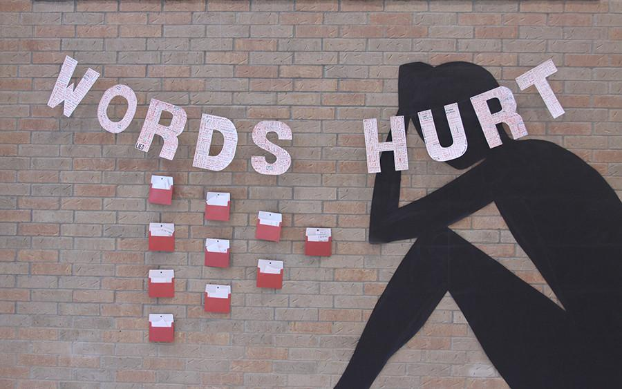 The mural is placed in the front of the science building and has an admission box for any students and teachers alike to submit any positive comments. In contrast to the positive comments someone can take with them, negative words and phrases are puzzled into 'words hurt.'