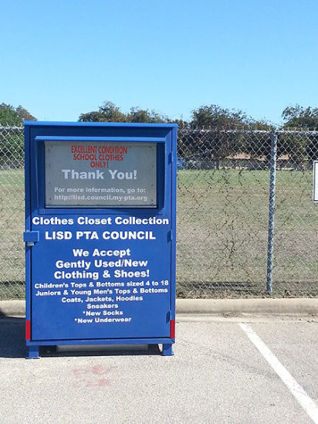 A clothes donation box outside of the building where Clothes Closet works. It is located at 324 South West Dr, Leander, TX.