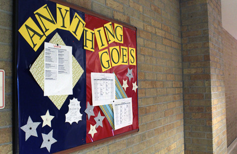 Board in front of the theatre room displaying Anything Goes. This is where updates and information is placed for the cast and crew.