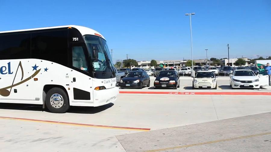 The buses that the band used for their trip to San Antonio. For equipment, the band used an 18 wheeler to haul all of their equipment.