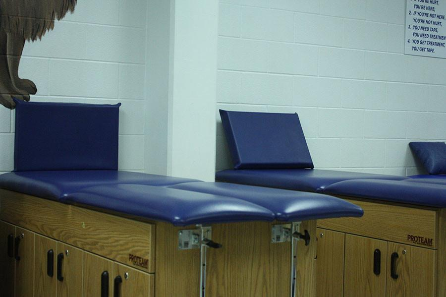 The training room where athletes go to get patch up. It is located at room near the football room.