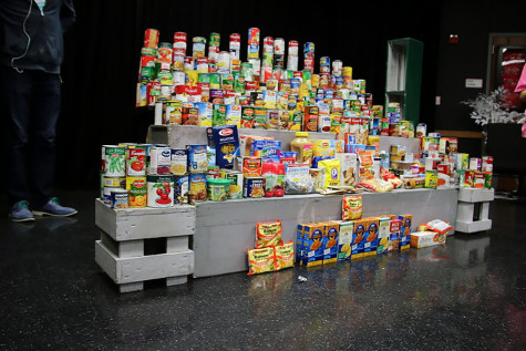 All of the cans and non-perishable items theatre raised. The collection only took four days with nearly an hour of work per day.