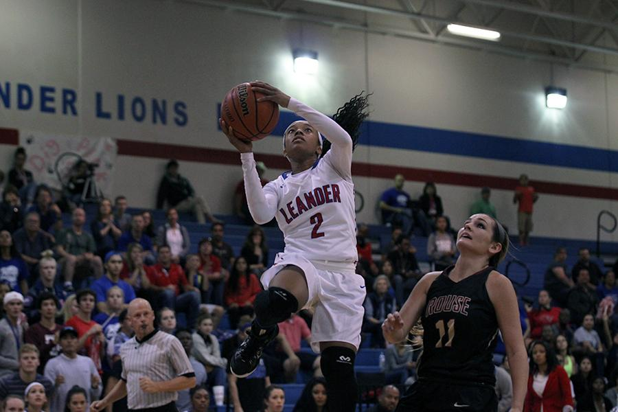 Senior Rayanna Carter shooting for the basket. Carter finished the game with 26 points.