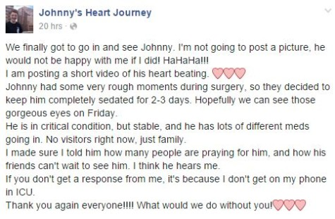 A post off of the facebook page dedicated to Johnny created by his mother. She has been updating it frequently to let all those following the journey know what's been going on.